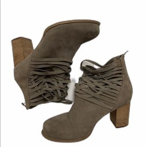 Torrid Taupe Suede Strappy Ankle Boot Stacked Heel